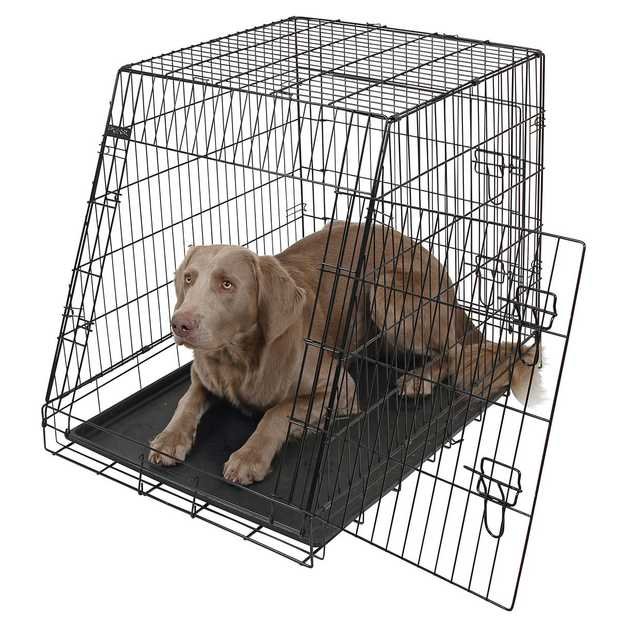 Dog Cage collapsible black 92x63x74cm, 2 doors