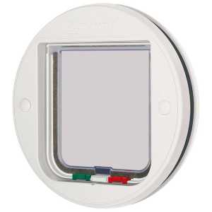 Cat Mate 4-way locking cat flap, glass fitting, white