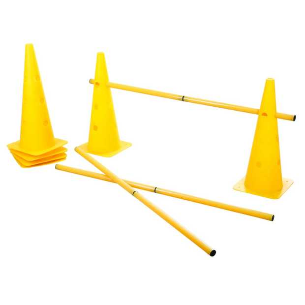 Agility Cone-Hurdle Set yellow, three hurdle