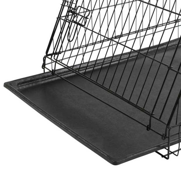 Dog Cage collapsible black 107x74x85cm, 2 doors