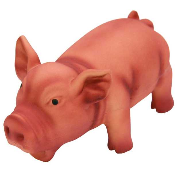 latex pig with grunting sound 15 cm, assorted colours